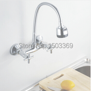 brass material wall mounted chrome hot and cold single lever kitchen sink basin faucet tap mixer