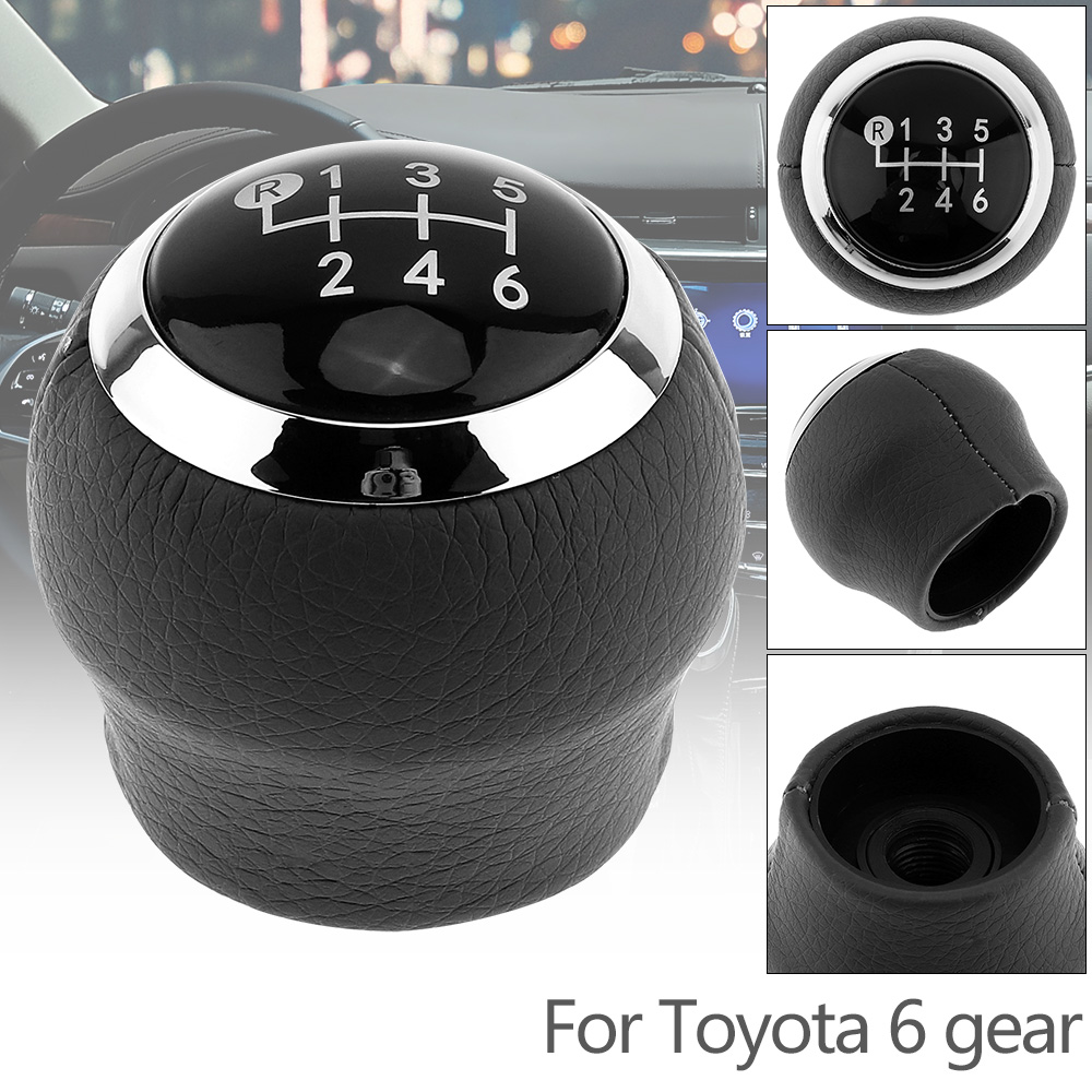 6 Speed ABS Plastic PU Leather Manual Transmission Gear Shift Knob for Toyota Corolla 1.8MT 2007-2013 Models