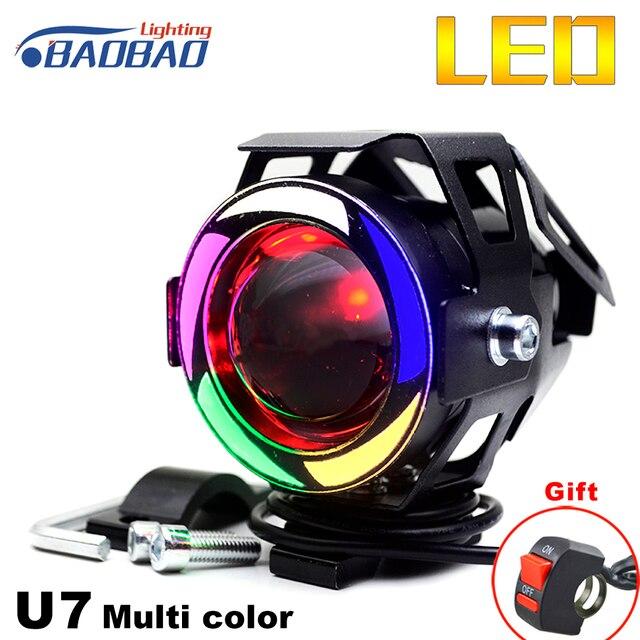 BAOBAO U7 Multi Color LED motocicleta faro moto Spot luz lámpara luz blanca transformador Motor proyector Angel Eyes