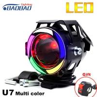 BAOBAO U7 Multi Kleur LED Motorfiets Koplamp Motor Spot Mistlamp Wit Licht Transformator Motor Projector Angel Eyes