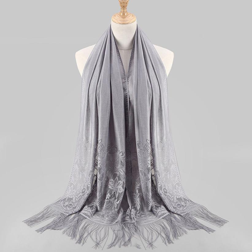 NEW Women Muslim Islamic Tassel   Scarves   Lace Hollow Long Hijab   Scarf   Shawl   Wrap   Stole Comfortable Elastic Shawl   Wraps   Echarpe