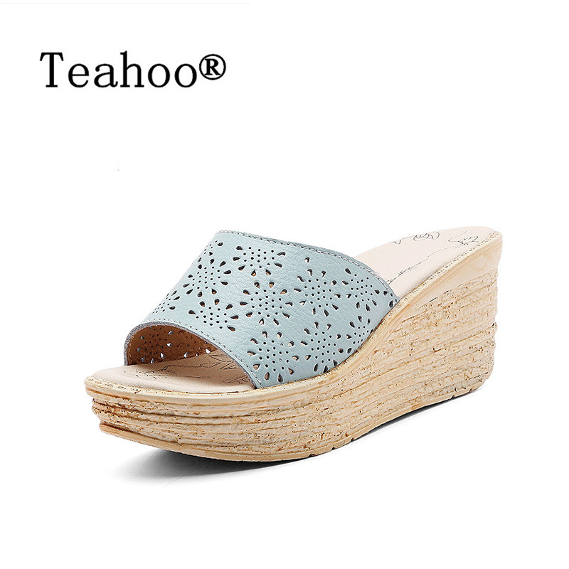 Summer 2017 Woman Shoes Platform Sandals Slippers Wedge Beach Sandals Shoes Female High Heel Slippers For Women Flip-Flop Slides meilikelin street style women slippers metal chain high heels slides shoes summer women sandals high heel flip flop mules shoes