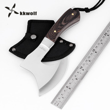 KKWOLF Multi Outdoor Survival Tomahawk Axe Head Tactical Fighting Ax Hammer Axe Hunting Rescue Hatchet Fire Steel Felling Axes