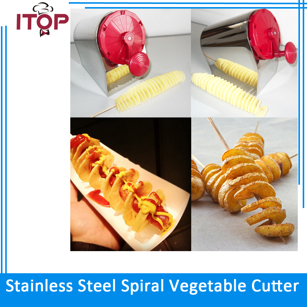 ITOP Manual Red Stainless Steel Spiral Potato Slicer French Fry Cutter Potato Chips Fried Machine DIY Kitchen Tools potato spiral cutter slicer chips