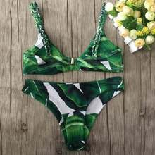 Bikini Top Leaf Print Swimwear Women Bikini Set Summer Style Beach Bathing Suit Push Up Bandage Swimsuit