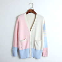 Hit Color Cardigan Sweater 2019 Spring Patchwork Single Breasted Long Sleeve Sweater Cardigan Ladies Brand Runway Knitted Coat