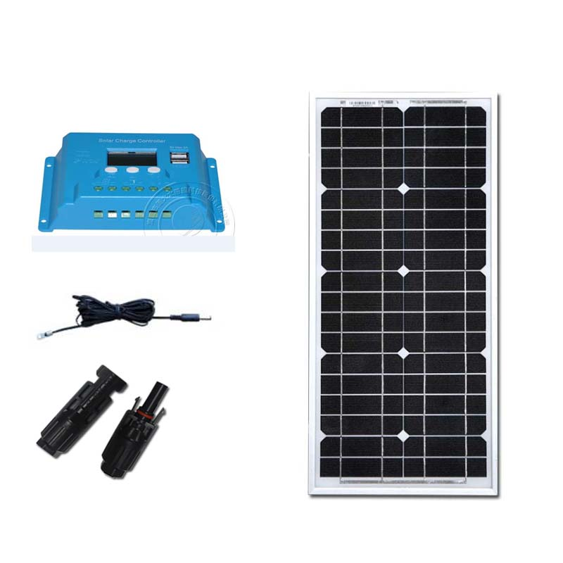 Portable Solar Panel Set 12V 20W Solar Charge Controller 12v/24 v 10A PV DC Cable MC4 Led Phone Fan Garden Camp Car Caravan