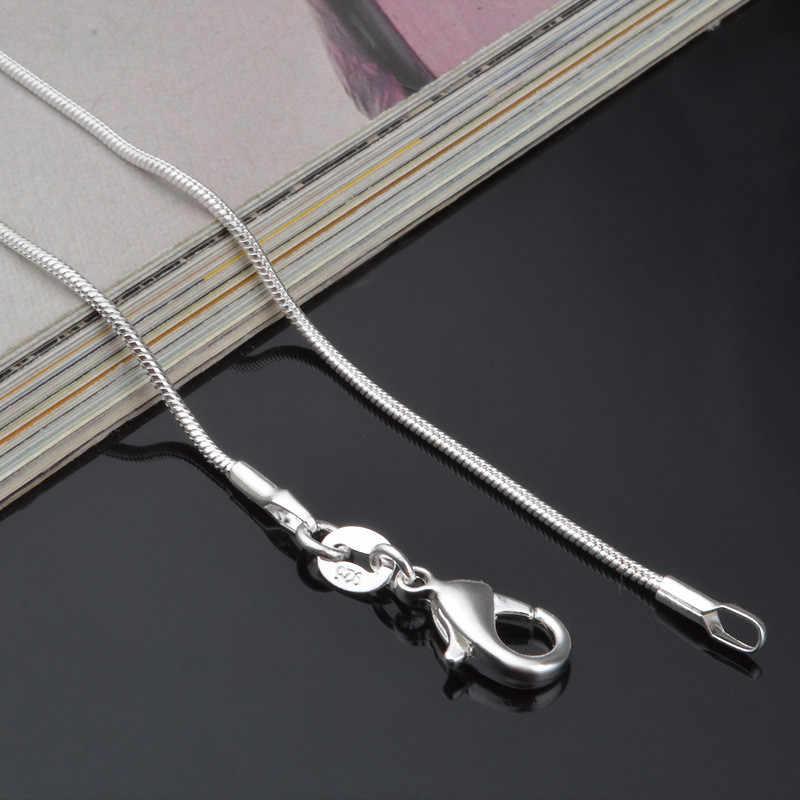 Modyle 2019 New Hot 1mm moda srebrny łańcuszek żmijka naszyjnik łańcuch dla kobiety mężczyzna 14-38 cal hurtownie