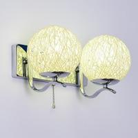 1/2 cabeças de lâmpada de parede de cabeceira moderna da arte decorativa da parede do quarto luz da noite de luz jardim luz de vime ZA913615