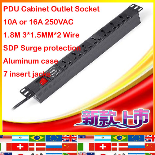 ФОТО Universal 7 jack aluminum 1.8m 1.5mm 10A 16A 250V european wire SDP surge prorection PDU outlet Cabinet Socket strip