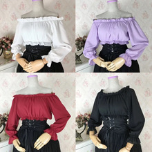 8ce80c70b61e5f Smocked Ruffle Off Shoulder Chiffon Corset Tube Top With Long Sleeves Women  Solid Lolita Cold Shoulder