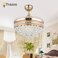 TRAZOS 52 inch Europe Gold Modern LED Wooden Ceiling fans With Lights Remote Control Living Room Bedroom Home Fan Lamp 220 Volt