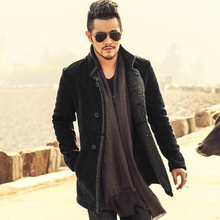 2017 PU Leather Jacket Men Long Wool Leather Standing Collar Jackets Coat Men Leather Jackets With Fur Trench Parka(China)