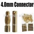 20 par/lote 4.0mm 4mm Ouro Bala Banana Conector para RC Bateria