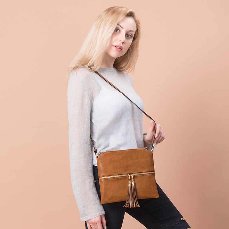 Realer сумка женская через плечо, овынй дизайн мода сумка через плечо с кисточкой, брендовая сумка из искусственной кожи