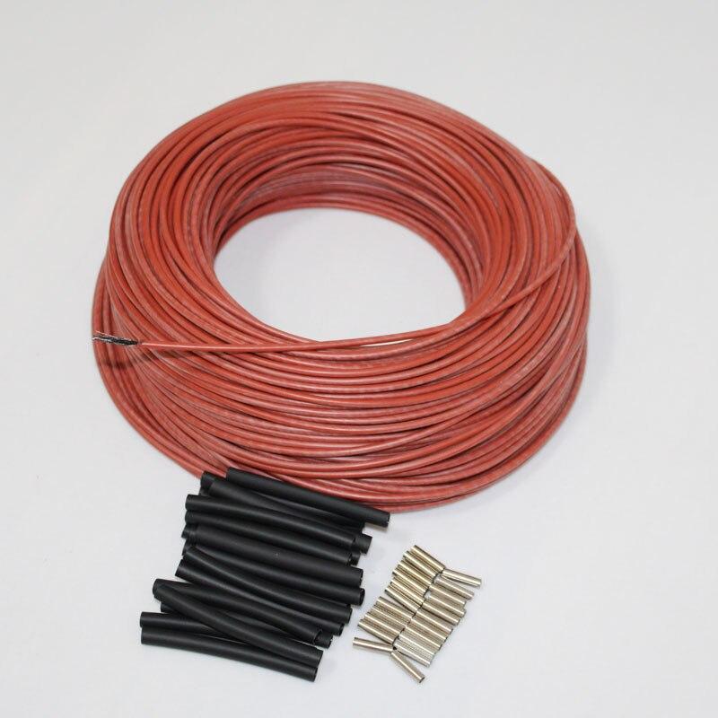 30m a 100m rojo silicona caucho infrarrojo lejano caliente piso habitación termostato de fibra de carbono Cable de calefacción