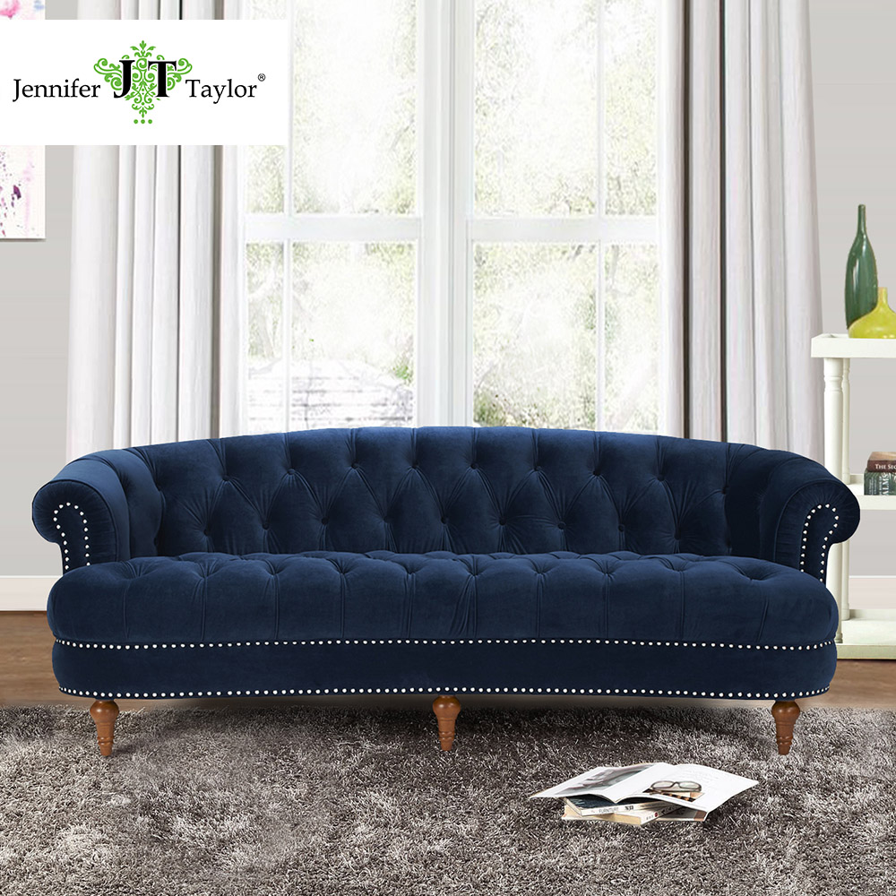 Jennifer taylor living room la rosa tawny port estate blue sofa velvet hand tufted hand applied nail heads85w x 37d x 32h in living room sofas from