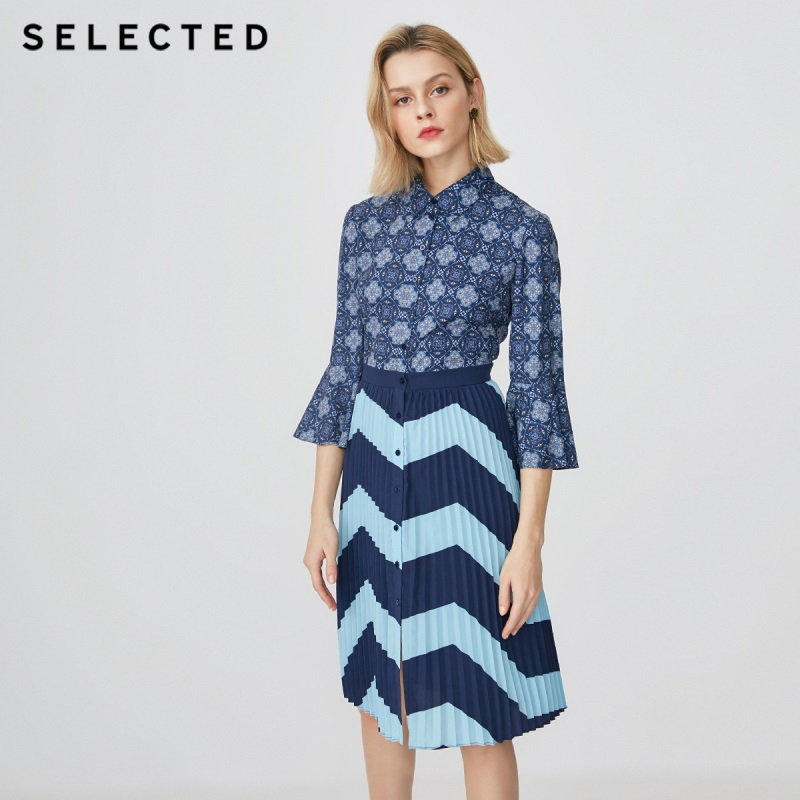 SELECTED new women s fashion print pleated three quarter sleeve dress S 41912J523