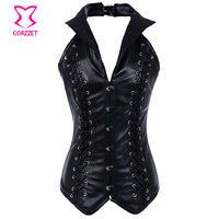 Thép Boned Steampunk Nịt Cái Yếm Của Côn Trùng Cộng Với Kích Thước Eo Huấn Luyện Viên Corset 6XL Gothic Black Leather Halter Tops Woman Sexy Korset