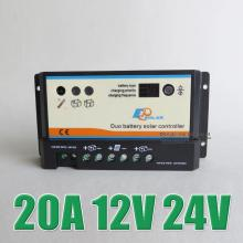 Hot Sale 20A 12V 24V EP EPIPDB-COM Dual Duo Two Battery Solar system Kit Controller Regulators