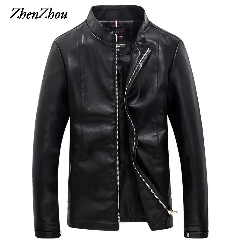 2017 Mens Jackets Spring Autumn Bomber Jacket Men Stand Collar Solid Casual Slim Fit PU Leather Jacket Male Coat Plus Size M-5XL top quality men winter jackets fashion luxury print slim fit men parkas stand collar long sleeve plus size padded coat male 5xl