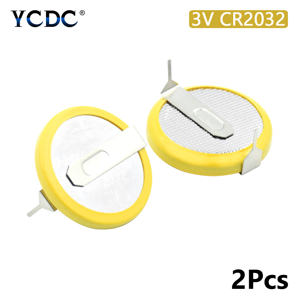 2X 3v Cr2032 Button Battery Coin Cell With 2 Mounting Pins/tabs Single Use 2 Soldering Pins Motherboard Calculator