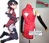 Customized BORUTO NARUTO THE MOVIE Uchiha Sarada Cosplay Costume New Fashion Women Cheongsam Anime Clothes +Sleeve Cover +Sock