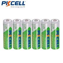 6 x PKCELL AA NiMH Recarregavel Bateria Durevole Bassa Auto scarica 1.2V 2200mAh 2A Ni Mh Batteria Ricaricabile batterie Bateria