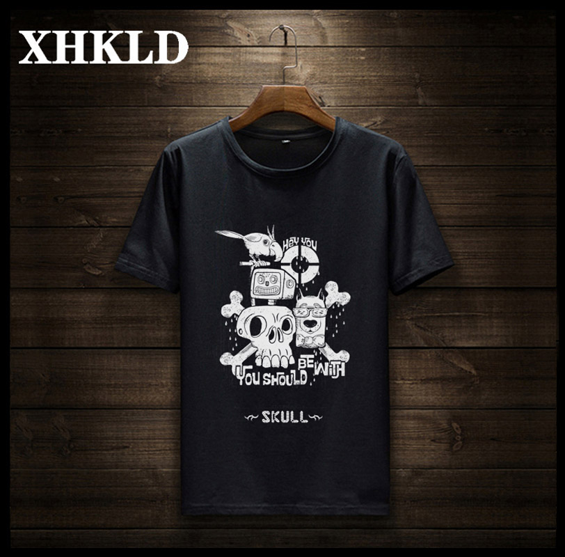 XHKLD 2018 New Vogue Cranium t-Shirt males cotton quick sleeves Informal male tshirt Printing t shirts males tops tees model clothes T-Shirts, Low cost T-Shirts, XHKLD 2018 New Vogue...