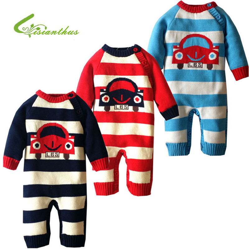 Baby Rompers Winter Thick Climbing Clothes Newborn Boys Girls Romper Knitted Sweater Cartoon Car Striped Outwear Christmas Gift 2017 baby jumpsuits winter overalls deer kinitted rompers climbing clothes sets for newborn boys girls costumes hooded sweater