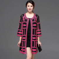 High quality new women ladies spring summer autumn fashion embroidery british style trench coat designer coat lace Cardigan