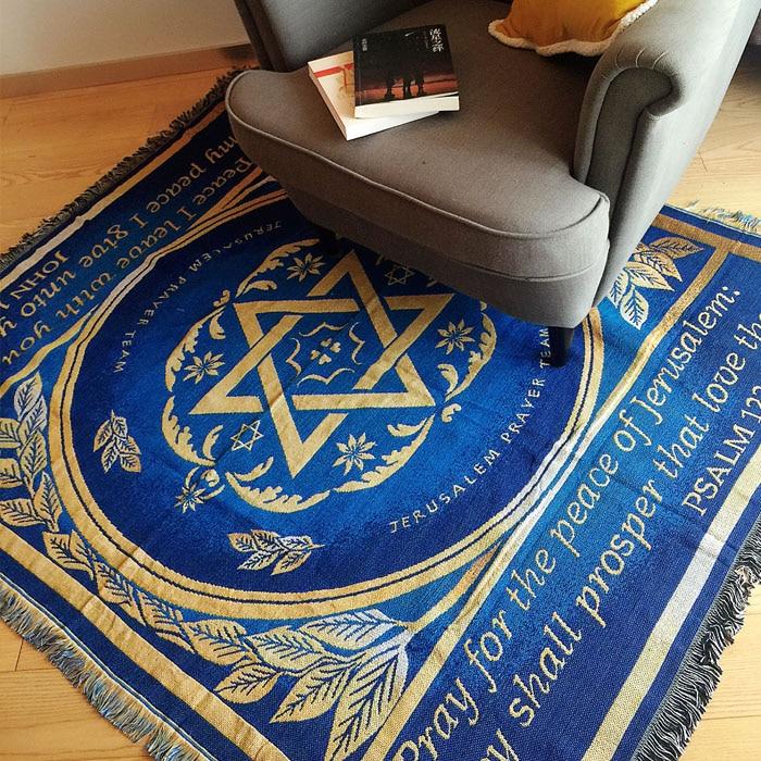 Pur coton tapis mince couverture ethnique Art canapé serviette couverture lit couverture salon chambre feutres tapisserie jeter tapis 125X150 CM