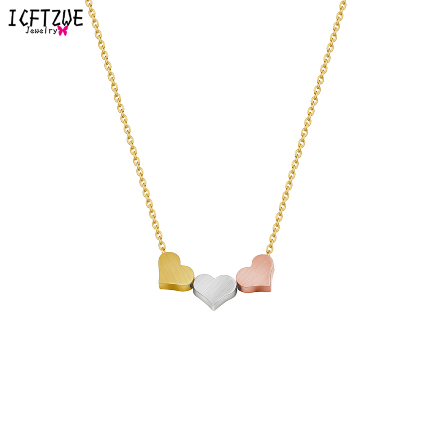 ICFTZWE Rose Gold Collares Vintage Hearts Pendants Collier Stainless Steel Women Choker Necklaces Ketting Vrouwen
