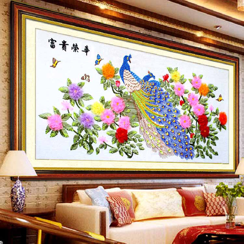 Ribbon Embroidery The Peacock Peony Flower Modern Ribbon Chinese Cross  Stitch Diy Art Craft Big Sitting Room Decoration Painting