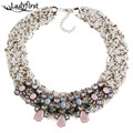 Ladyfirst Nueva Bohemia Cuentas Bib Vintage Twisted Rope Light Pink Flor de La Resina de Lujo Maxi Bijoux Collar Collar de la Declaración 3062