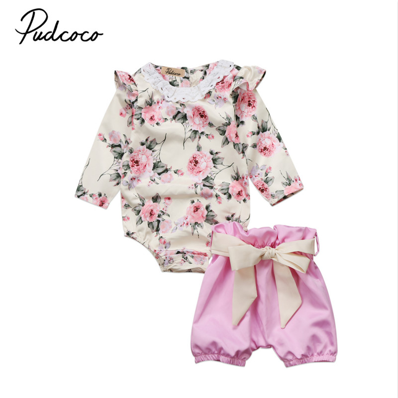Toddler Infant Baby Girls Kids Flower Clothes Set Bowknot Lace Long Sleeve Tops Romper Short Pants 2Pcs Outfits Clothing Sets