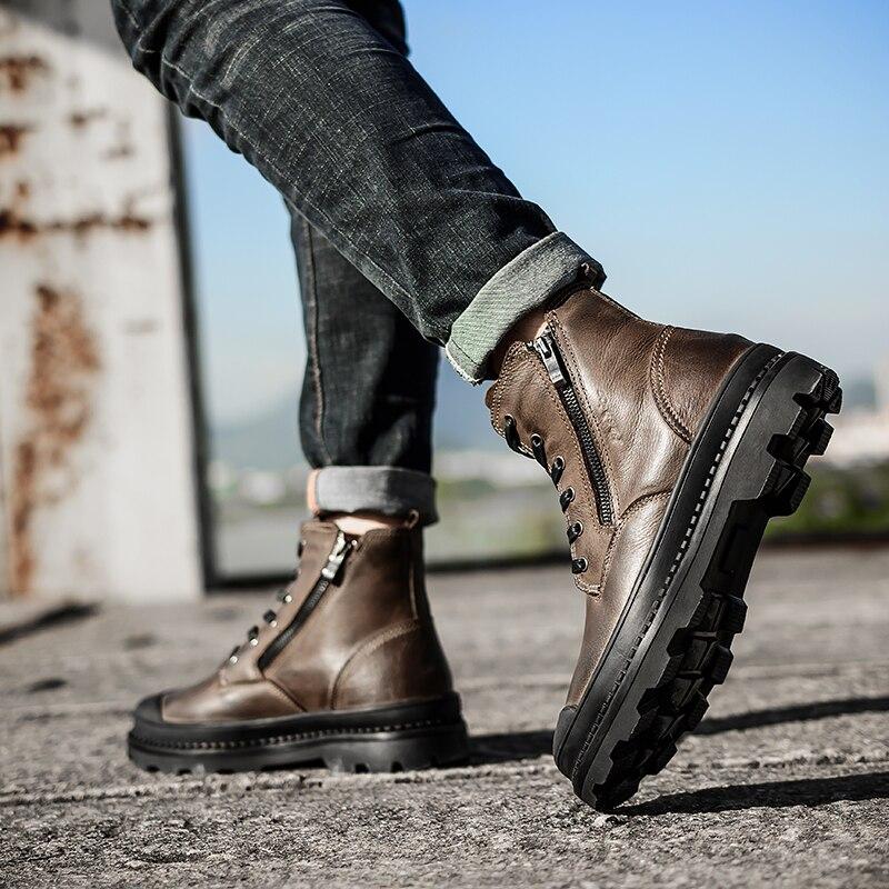Vintage Style Hommes Bottes En Cuir Naturel Automne et D'hiver Chaussures D'eau Preuve Travail et Chaussures De Sécurité Hommes Qualité Cheville Bottes HH-043
