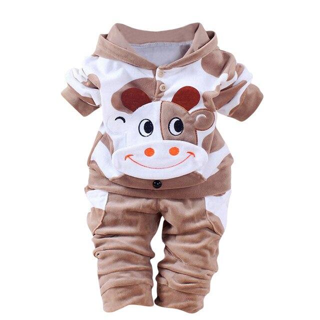 Teletuny/теплая одежда с рисунком коровы для маленьких мальчиков и девочек бархатные Топы с капюшоном, комплект зимней одежды для маленьких девочек, 1006