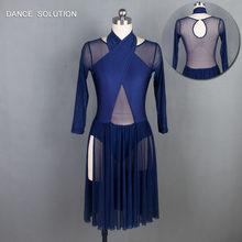 490de4fc40 Azul Marino corpiño de malla lírico y danza contemporánea vestido de falda  de las mujeres y la chica traje vestido MEDIADOS DE-l.