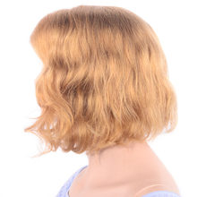 LADYSTAR Remy Hair Short Bob Wig Blond Color Lace Front Human Hair Wigs Right Part Curly 150% Density For Women 12 Inch(China)