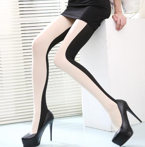 Latest Sale Women Sexy Patchwork Stockings High Elastic Tights White Hosiery Female Long Pantyhose Double Color