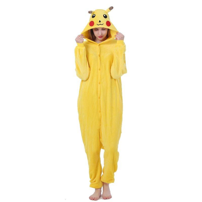Kigurumi Pikachu Pokemon Pajama Adult Animal Onesies For Women Men Winter Pajamas Kegurumi Sleepwear Flannel Pijamas Pyjama