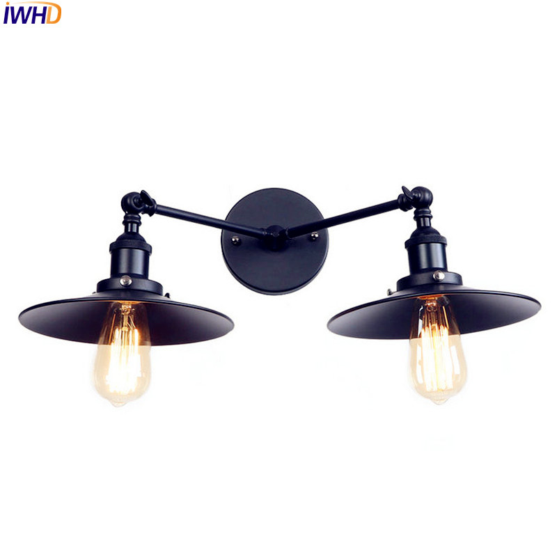 IWHD 2 Heads Black Edison Wall Sconce Arm Home Lighting Adjustable Arm Retro Vintage Wall Lamp LED Stair Light Wandlamp brass glass wall lights led vintage edison american home stair lighting living room adjustable arm industrial wall lamp sconce