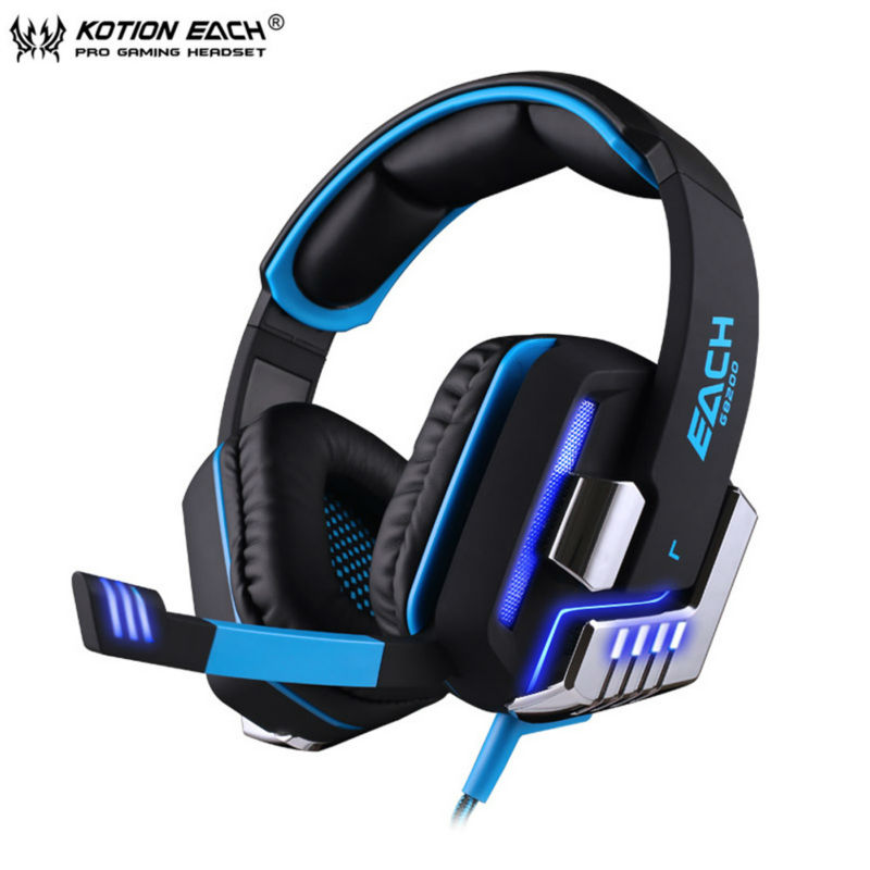 KOTION EACH G8200 USB 7.1 Surround Sound Vibration Game Gaming Headphone Computer Headset Earphone Headband with Mic LED for PC original somic p7 headphones headband vibration game headphone 7 1 sound bass hifi folding gaming headset mobile pc earphone