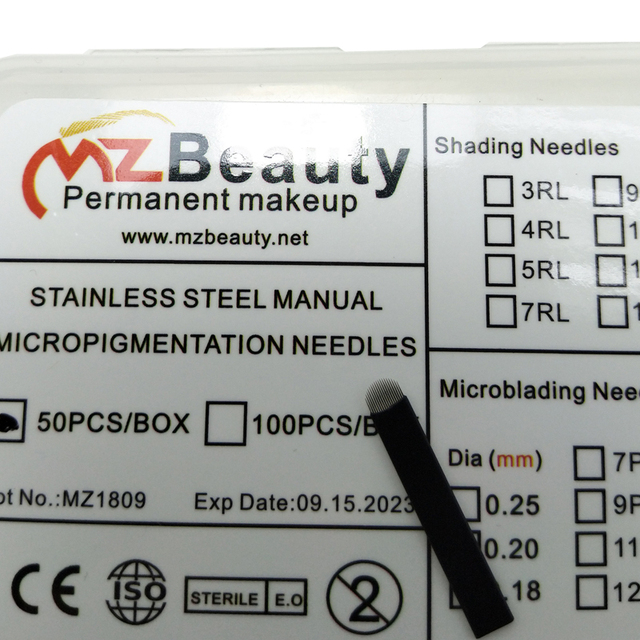 0.16mm 18 U-Shape Nano Microblading needle blade tattoo needles for Permanent Makeup Eyebrow tebori pen agulhas with Lot No. Exp 1