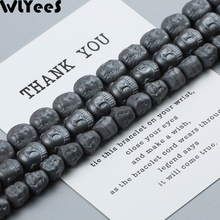 WLYeeS Lion Maitreya Buddha head natural Black Hematite beads 20pcs Special-shaped Loose Beads Jewelry Bracelet Necklace Making fenlu fl 083 double faced buddha head shaped bracelet silver