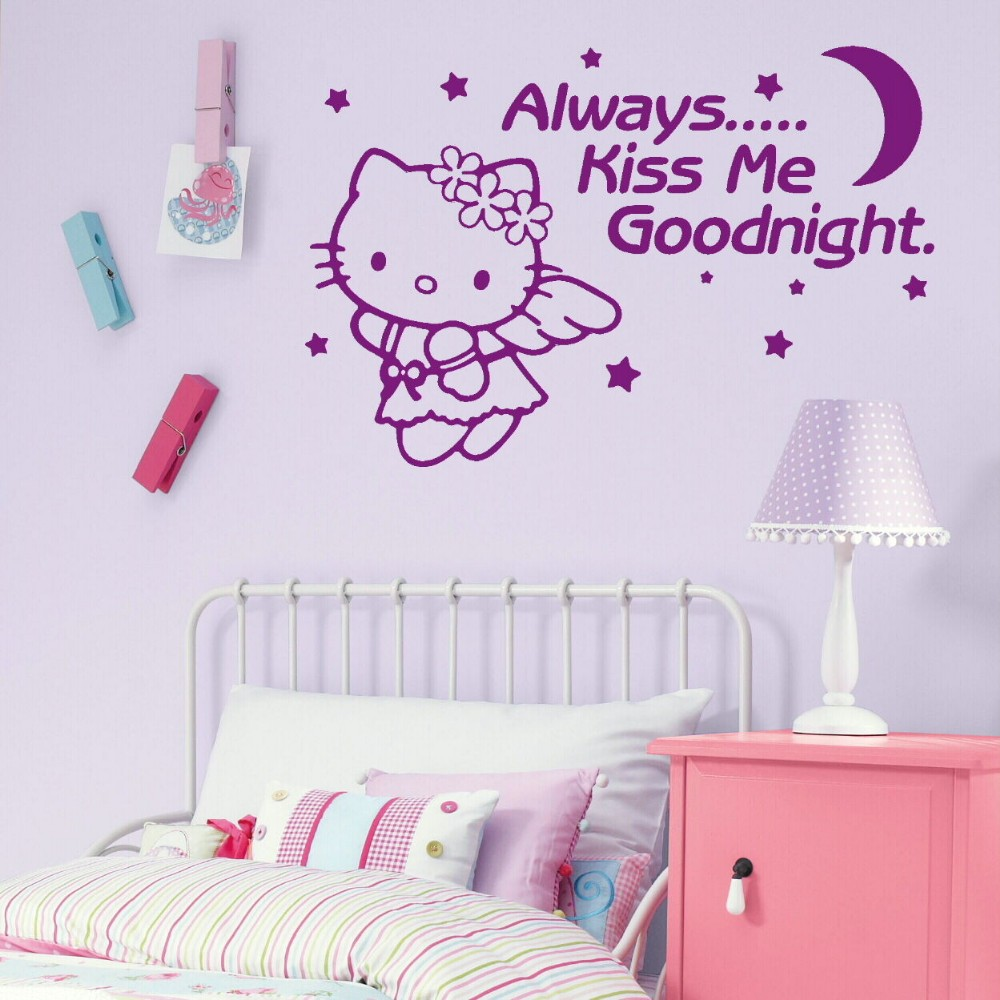 Hot Sale Always Kiss Me Goodnight Quotes Wall Sticker With Cute
