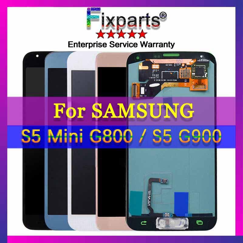 100% Testé Pour Samsung s5 lcd SM-G900 SM-G900F G900 Avec Écran Tactile Digitizer Assemblée pour Samsung Galaxy S5 Mini G800 g800F