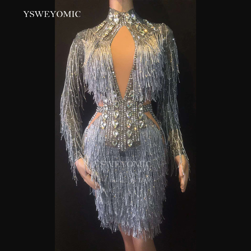 2019 Sexy gland cristaux Perspective robe femmes anniversaire célébrer voir à travers maille robe gris franges Costume danse robe