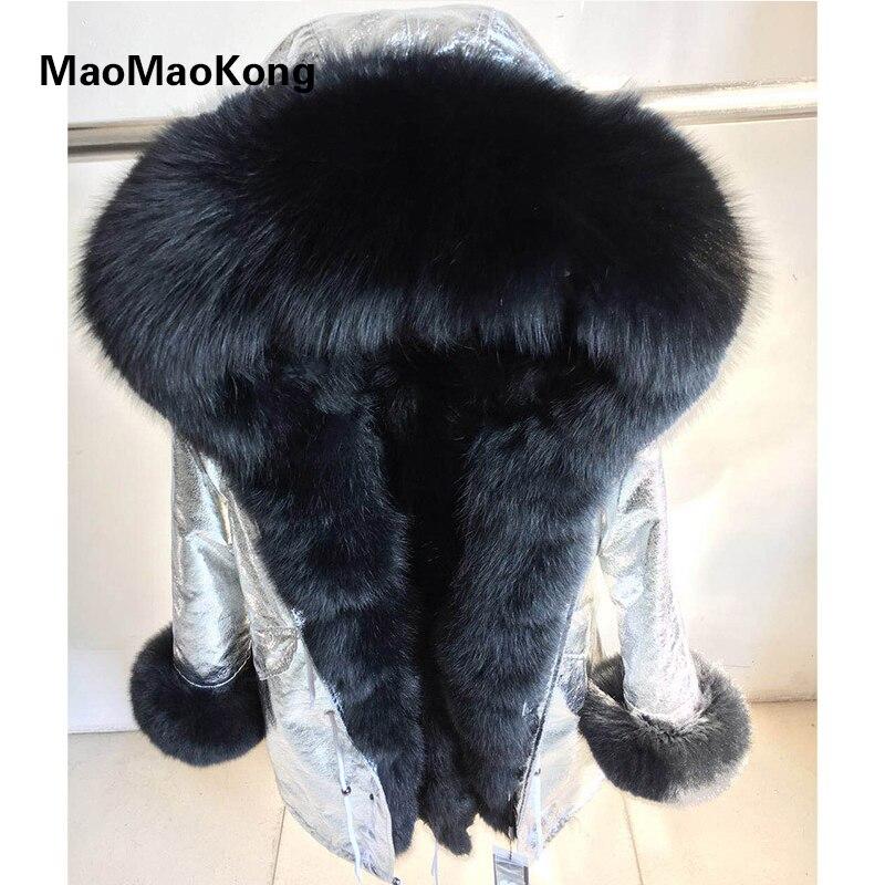 Подлинная Silver Fox меховой воротник с капюшоном Длинные Повседневные куртки Для женщин зимние из натурального меха енота пальто куртка